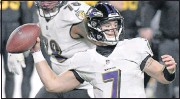 ?? THE ASSOCIATED PRESS ?? The Ravenswere down to third- string quarterback Trace McSorley ( 7) with Lamar Jackson on the COVID-19 list and Robert Griffin III suffering an injury against the Steelers.