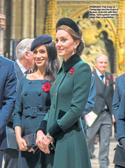??  ?? POIGNANT: The Duke of Cambridge and the Duke of Sussex, pictured with their wives, have spoken warmly about their grandfather.