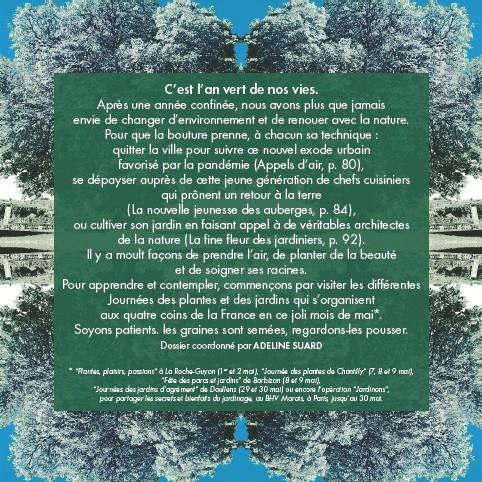 """??  ?? * """"Plantes, plaisirs, passions"""" à La Roche-Guyon (1er et 2 mai), """"Journée des plantes de Chantilly"""" (7, 8 et 9 mai), """"Fête des parcs et jardins"""" de Barbizon (8 et 9 mai), """"Journées des jardins d'agrément"""" de Doullens (29 et 30 mai) ou encore l'opération """"Jardinons"""", pour partager les secrets et bienfaits du jardinage, au BHV Marais, à Paris, jusqu'au 30 mai."""