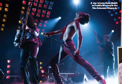 ??  ?? A star is born: Rami Malek as Freddie Mercury in the film Bohemian Rhapsody.
