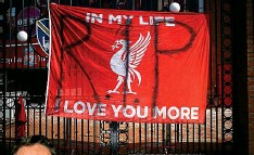 ?? GETTY ?? Red rage: Banner on gates of Liverpool ground