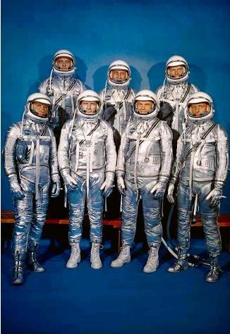 ?? Wikimedia Commons ?? Os 'Mercury Seven' da Nasa, astronautas escolhidos para o projeto Mercury