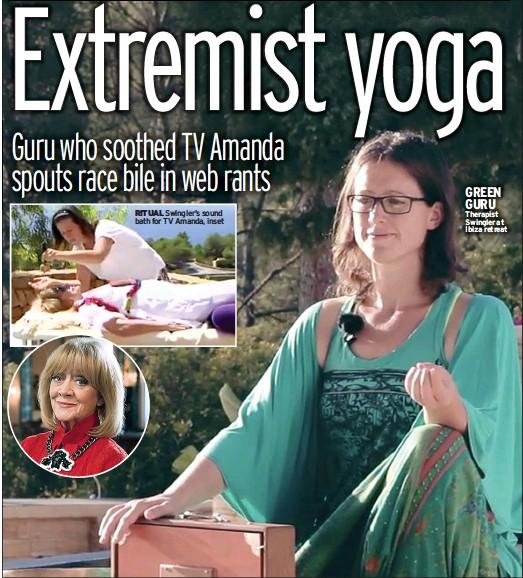 ??  ?? RITUAL Swingler's sound bath for TV Amanda, inset GREEN GURU Therapist Swingler at Ibiza retreat