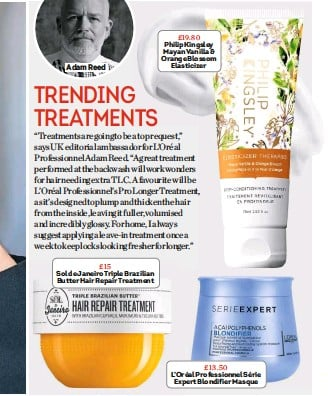 ??  ?? Adam Reed £19.80 Philip Kingsley Mayan Vanilla & Orange Blossom Elasticizer £13.50 L'oréal Professionnel Série Expert Blondifier Masque