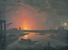 ??  ?? Drury Lane theatre burning, 1809, despite an iron safety curtain and rooftop water tanks