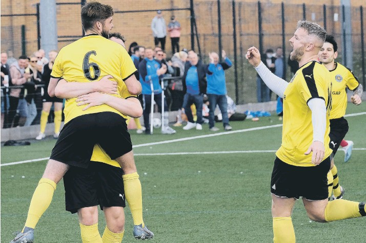 ?? PHOTOS BY RICHARD PONTER ?? CUP JOY: Trafalgar players celebrate a goal during their 2-0 semi-final win against Scarborough Sunday League rivals Newlands in the NRCFA Sunday Challenge Cup semi-final at Pindar on Sunday