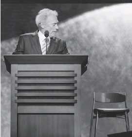 ?? CHARLES DHARAPAK/THE AS­SO­CI­ATED PRESS ?? 'Eastwoodin­g' has en­tered the vo­cab­u­lary as a pop­u­lar meme in which peo­ple ad­dress empty chairs, as Clint East­wood did at this year's Repub­li­can Na­tional Con­ven­tion.