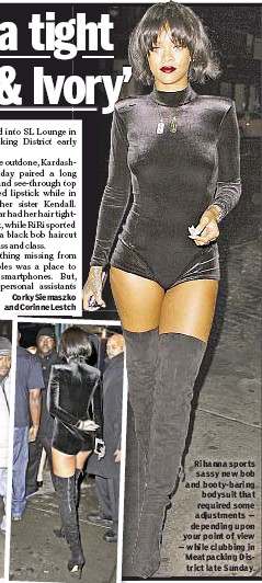 Rihanna Sports Sassy New Bob And Booty Baring Bodysuit That Required Some Adjustments Depending Upon Your Point Of View While Clubbing In Meatpacking