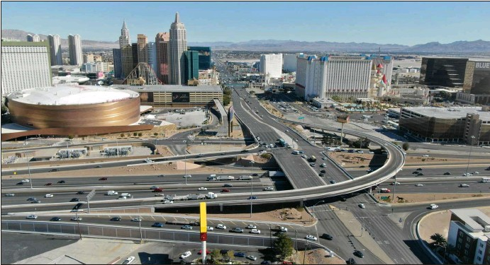 ?? Michael Quine Las Vegas Review-journal @Vegas88s ?? An aerial view shows the interchange at Tropicana Avenue and Interstate 15, which will be restructured to increase capacity.