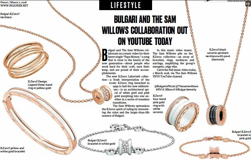 ??  ?? Bulgari B.Zero1 necklace B.Zero1 yellow and white gold bracelet B.Zero1 Design Legend three-band ring in yellow gold Bulgari B.Zero1 bracelet in white gold @Bulgariofficial @Thesamwillows #RVLE #Bzero1 #BulgariJewelry B.Zero1 four-band pink gold ring...