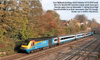 ?? PAUL BIGGS. ?? East Mid­lands Rail­way 43423 Va­lenta1972-2010 leads the 1212 Neville Hill-Le­ices­ter empty stock move past Bar­row-upon-Soar on Novem­ber 7, tak­ing three High Speed Train Mk 3s to their new owner (the 125 Group). On the rear is 43073.