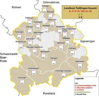 ?? GRAFIK KEVIN RUDNER: ?? Die aktuelle Situation im Landkreis Tuttlingen.