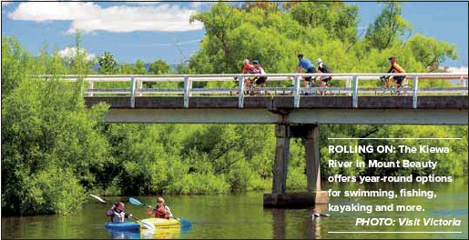 ?? PHOTO: Visit Victoria ?? ROLLING ON: The Kiewa River in Mount Beauty offers year-round options for swimming, fishing, kayaking and more.