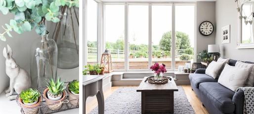 ??  ?? Unten links Georgia kombiniert echte Pflanzen in Blumentöpfen mit künstlichen Zweigen in Vasen. Unten rechts Das Garten-Wohnzimmer bietet eine schöne Aussicht.
