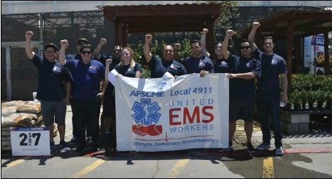 ?? Employees of AMR ambulance services on Friday gathered to petition their employer to be recognized as members of the United EMS Workers union. PHOTO JULIO MORALES ??