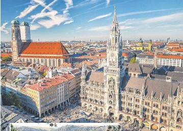 ?? SBORISOV, GETTY IMAGES/ ISTOCKPHOTO ?? Marienplatz, above, has been the main square of Munich since 1158, although New Town Hall dates only to 1874. West of Frankfurt lie the ruins of Rheinfels Castle, left.