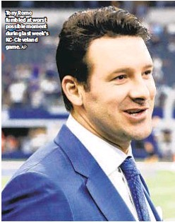 ?? AP ?? Tony Romo fumbled at worst possible moment during last week's KC-Cleveland game.