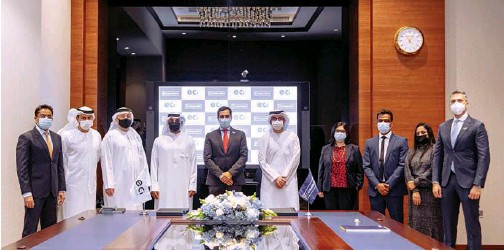 ??  ?? ↑ Officials of Emirates NBD and ECI after signing the agreement on Sunday.