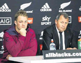 ?? PHOTO: GETTY IMAGES ?? Dynamic duo . . . All Blacks captain Sam Cane (left) and coach Ian Foster address media.