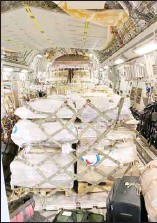 ?? KUNA photos ?? Kuwait Air Force transport plane loaded with medical supplies bound for Tunisia.