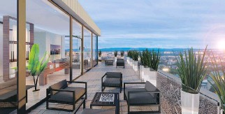 ??  ?? A terrace off the communal lounge and recreation room will afford a dramatic view of the city.