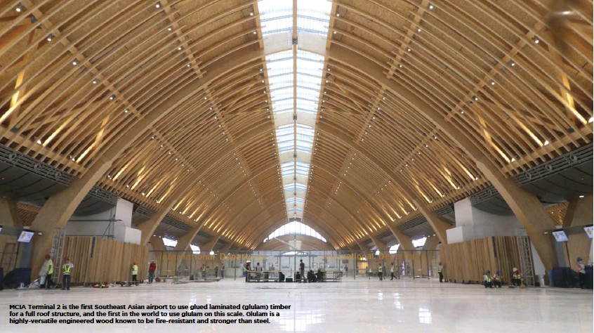 ??  ?? MCIA Terminal 2 is the first Southeast Asian airport to use glued laminated (glulam) timber for a full roof structure, and the first in the world to use glulam on this scale. Glulam is a highly-versatile engineered wood known to be fire-resistant and stronger than steel.