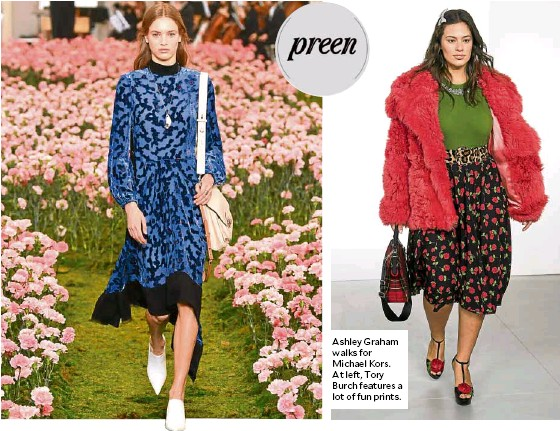 ??  ?? Ashley Graham walks for Michael Kors. At left, Tory Burch features a lot of fun prints.