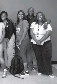 ?? BALTIMORE CITY COMMUNITY COLLEGE ?? TOP: Nana Gyesie, Moses Ingram's adviser at Baltimore City Community College, and now the school's director of its Student Success Center. ABOVE: Ingram, left, with Analicia Archibald, Gyesie and Tracey Holmes at the community college in 2014 before departing for a study abroad experience in Argentina.