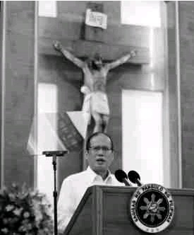 ?? EDWIN BACASMAS ?? SPECIAL GUEST President Aquino delivers the keynote speech during the 400th founding anniversary of the University of Santo Tomas in Manila on Wednesday.