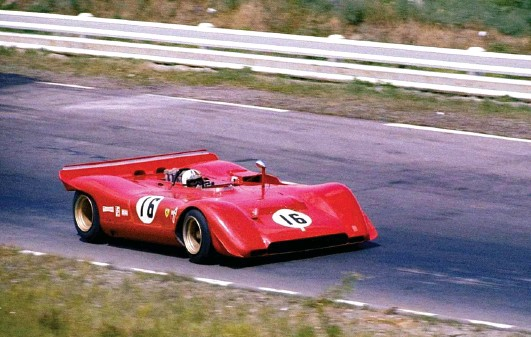 ??  ?? Below: Chris Amon's 6.3 litres of overweight and under-powered V12 Ferrari was sadly no match for the Mclarens of Bruce and Denny