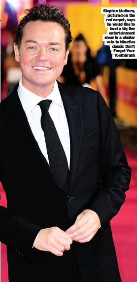 ??  ?? Mulhern, .pLiIcVtEured on the red carpet, says he would like to host a big live entertainment show in a similar vein to Nineties classic Don't Forget Your Toothbrush