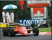 ?? (Photo Sutton/panoramic). ?? MONTRÉAL (Canada), CIRCUIT GILLES-VILLENEUVE, 16 JUIN 1985. – Pour son baptême du feu en F 1, Canal + vit l'ItalienMichele Alboreto s'imposer sur Ferrari.