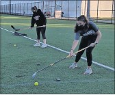 ?? LILY ESPINO ?? Members of the women's ice hockey team at Virginia Tech have been practicing in the early mornings on rec sports fields. The rink they use is 45 minutes away in Roanoke.