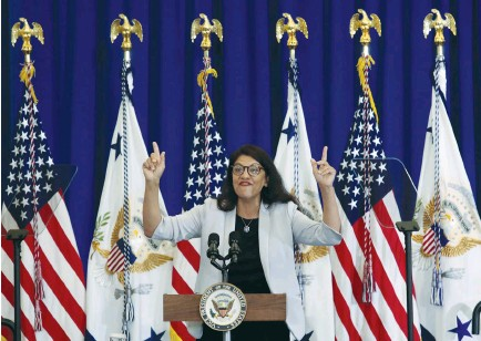 ?? (Rebecca Cook/Reuters) ?? MICHIGAN DEMOCRATIC Congresswoman Rashida Tlaib, speaking in Detroit last week, and some of her 'Squad' colleagues are using their notoriety to bring antisemitic policies and rhetoric into the mainstream.