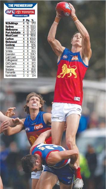 ??  ?? Lions forward Eric Hipwood pulls down a big mark in Ballarat on Saturday. Picture: Getty