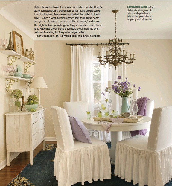 ??  ?? LAVENDER WINS in this shabby chic dining room. A sidebar and open shelves balance the space, while an indigo rug ties it all together.