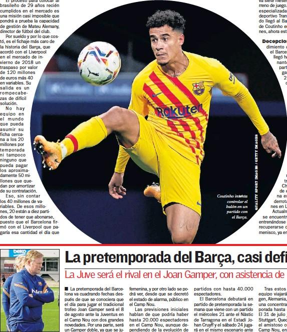 ??  ?? Ronald Koeman. Coutinho intenta controlar el balón en un partido con el Barça.