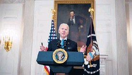 ?? DOUG MILLS/THE NEW YORK TIMES ?? President Joe Biden delivers an address from the White House in which he announced a partnership between pharmaceutical companies Merck and Johnson & Johnson to produce more of J&J's COVID-19 vaccine.