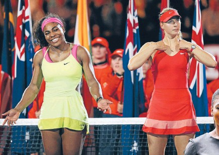 ?? Photos: GETTY IMAGES ?? One of a kind: Serena Williams has just beaten Maria Sharapova for the 17th time in 19 matches but the Russian remains more popular. And what would the reaction have been if Williams had been as foul-mouthed as Andy Murray's fiancee Kim Sears, far right.
