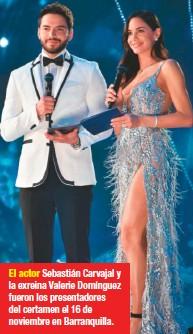 ??  ?? El actor Sebastián Carvajal y la exreina Valerie Domínguez fueron los presentadores del certamen el 16 de noviembre en Barranquilla.