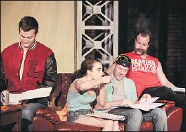 """?? Maria Alejandra Cardona Los Angeles Times ?? A READING of Amanda Kohr's """"The Lighthouse"""" at the Fountain Theatre includes Garret Wagner, left, Kelley Mack, Michael D. Turner and Chops Bailey."""