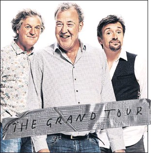 ??  ?? CAPTION: Is in 8.5pt helvetica bold except when it's on a picture when its helevetica black and bigger if May, left, Clarkson and Hammond unveil their new Amazon car show's name