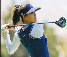 ?? Associated Press photo ?? In this April 5, 2019, file photo, Michelle Wie watches her tee shot on the 18th hole during the second round of the LPGA Tour ANA Inspiration golf tournament at Mission Hills Country Club in Rancho Mirage, Calif. Wie is expecting her first child — a girl — this summer. The ofteninjured golfer announced the news Thursday.