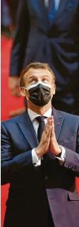 ?? Foto: Badias, dpa ?? Will sich vor der Wahl profilieren: Frank‰ reichs Präsident Macron.