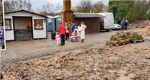 ??  ?? More grotty than grotto: The wet and muddy sight that greeted families at the Reindeer Lodge attraction near Mold
