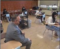 ?? PETE BANNAN - MEDIANEWS GROUP ?? U.S. Secretary of Education Miguel Cardona visits classes at Beverly Hills Middle School Tuesday.