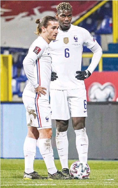 ?? Courtesy: Twitter ?? The likes of Antoine Griezmann (left) and Paul Pogba are the mainstay of the French squad.