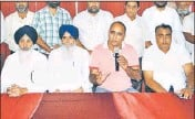 ??  ?? Members of the All Punjab Truck Operators Union addressing a press conference in Jalandhar on Tuesday. HT PHOTO