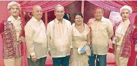 """??  ?? Bedan class president Lino Dionisio, MAP member Elfren Cruz with co-writer Neni Sta. Romana Cruz, and the author Krip Yuson pose with """"Viennese gentlemen."""" A pas de deux was among the highlights of the tribute awards night and musical concert."""