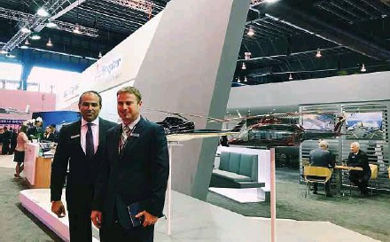 ??  ?? Bell Helicopter Asia (Pte) Ltd managing director for Asia Pacific Sameer Rehman (left )and general manager Chris Schaefer at the company's booth at the recent Singapore Airshow 2018.